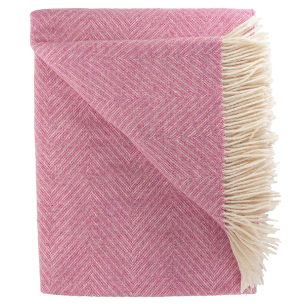 SOUTHAMPTON HOME Wool Herringbone Throw (Peony)-Throws and Blankets-Prince of Scots-810032751036-Q028005-Prince of Scots