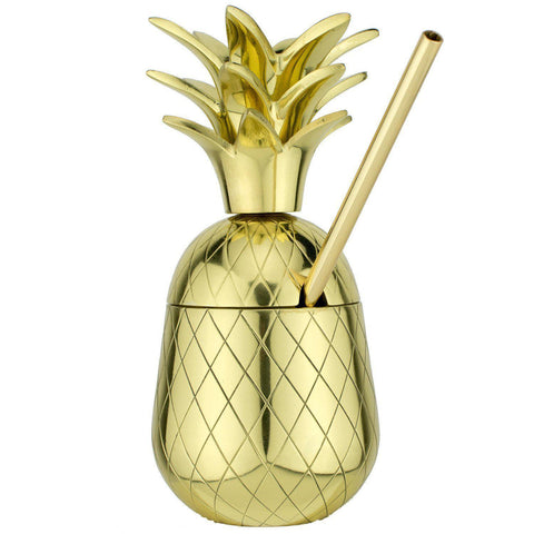 The Royal Hawaiian Pineapple Tumbler ~ Gold 9 Ounce-Home Gifts-Prince of Scots-810032751746-PineGold7-Prince of Scots