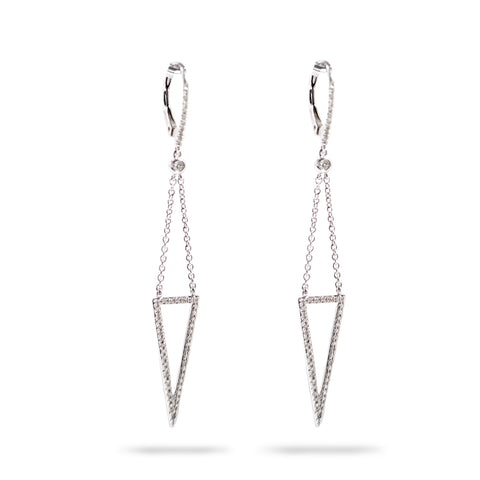 14k White Gold Dangling Diamond Earrings