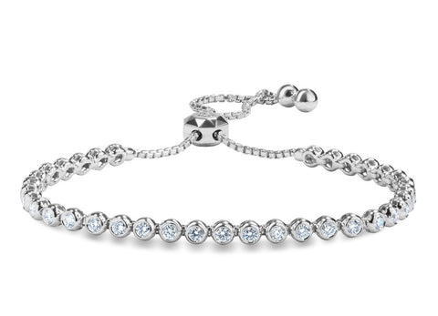 1.26 Carat White Gold Adjustable Diamond Tennis Bracelet