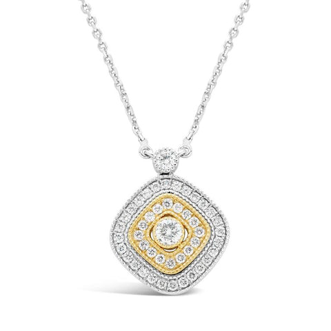 14k Two Tone Gold Diamond Pendant Necklace 1.00 Carat