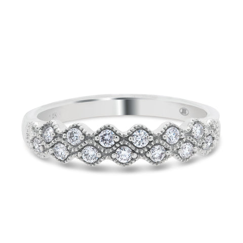 14k White Gold Beaded Diamond Band