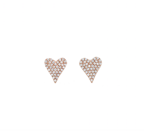 14k Rose Gold  Pave Diamond Heart Stud Earrings