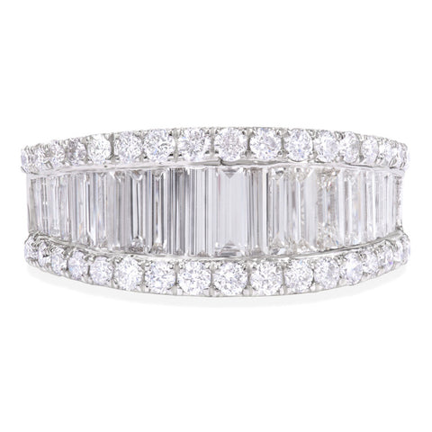 18k White Gold Baguette and Round Diamond Wedding Band