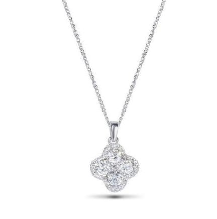 14kt White Gold Diamond Cluster Clover Pendant Necklace
