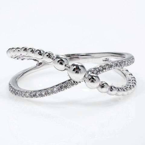 14k White Gold Criss-Cross Design Diamond Ring