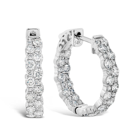 14k White Gold Diamond Huggie Hoop Earrings 1.75cts
