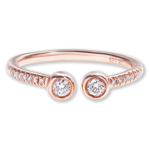 14k Rose Gold Open Diamond Ring