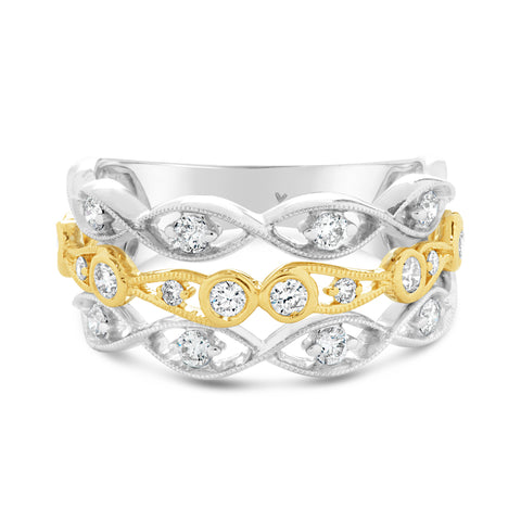 Diamond Two Tone 14k Open Diamond Band Ring