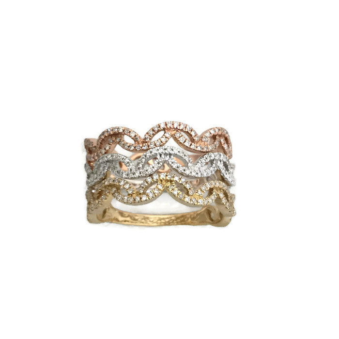 Tri-color 14k diamond stacking band rings