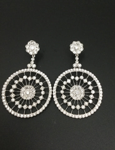 White Gold Dangling Diamond Earrings 7.89cts tw
