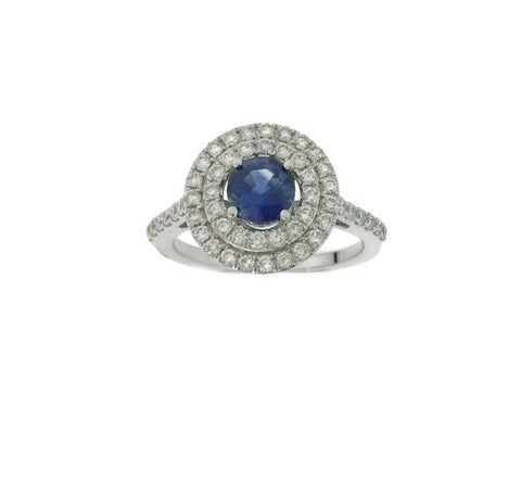18kt White Gold Sapphire Diamond Double Halo Ring