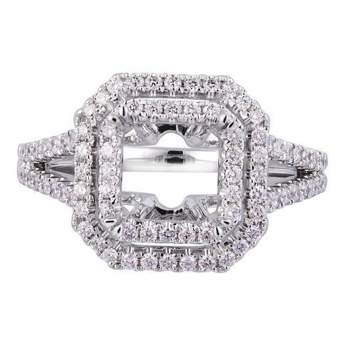 18kt Double Halo Diamond Engagement Micro Pave Setting