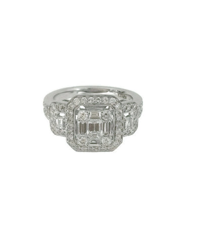 18k Triple Halo Engagement Diamond Ring 1.22 cts tw.