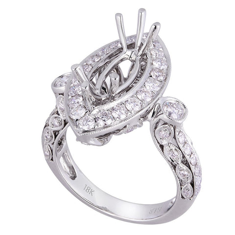 18kt White Gold Engagement Ring For Marquise Diamond