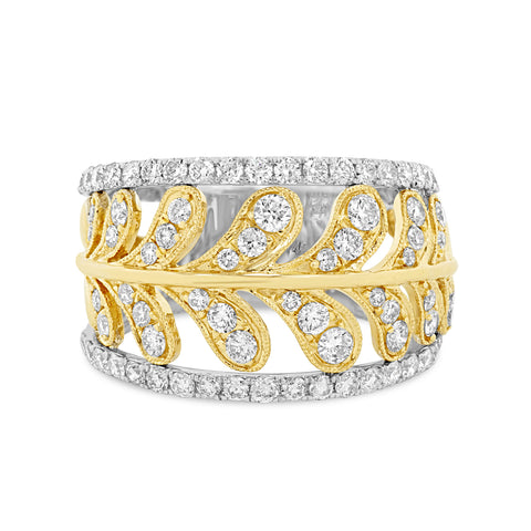 Diamond Two Tone 14k Leaf Diamond Band Ring