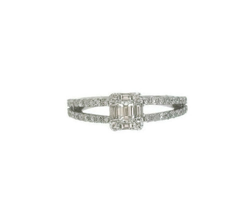 Emerald Cut Illusion Diamond White Gold Ring .77cts tw.