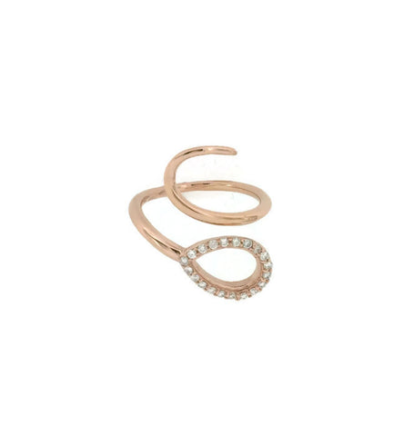 18k Rose Gold Diamond Swirl Ring