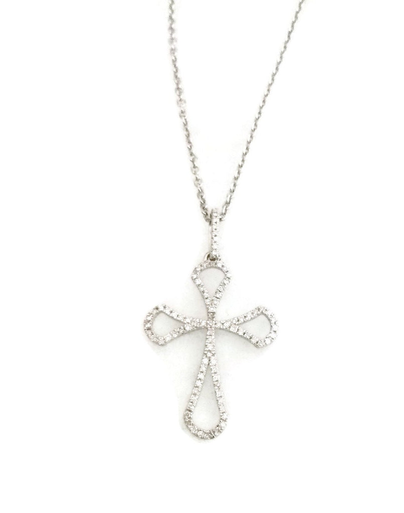 14k white gold diamond cross pendant necklace 14 ct mb altman 14k white gold diamond cross pendant necklace 14 ct aloadofball Image collections