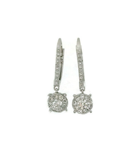 White Gold Diamond Dangling Lever Back Earrings .92cts tw