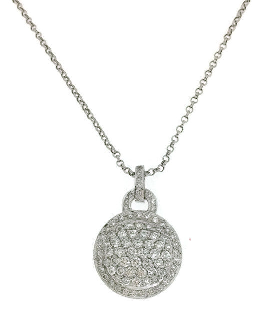 14k white gold pave diamond circle pendant necklace 215cts mb 14k white gold pave diamond circle pendant necklace 215cts aloadofball Gallery