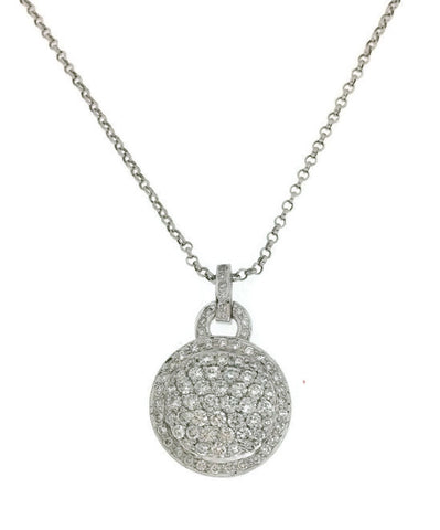 14k White Gold Pave Diamond Circle Pendant Necklace 2.15cts.