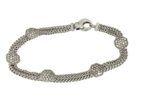 14kt White Gold Diamond Chain Bracelet 1.27cts tw