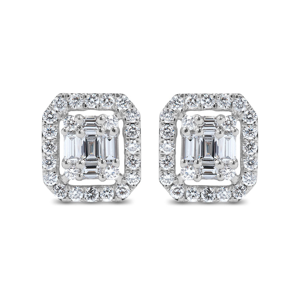 White Gold Rectangular Halo Diamond Earrings