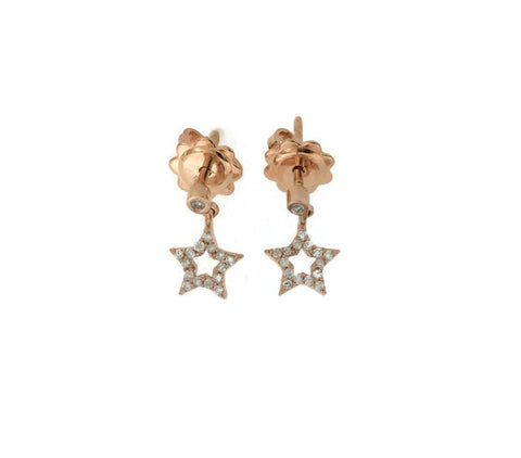 18k Childrens Rose Gold Diamond Dangling Star Earrings