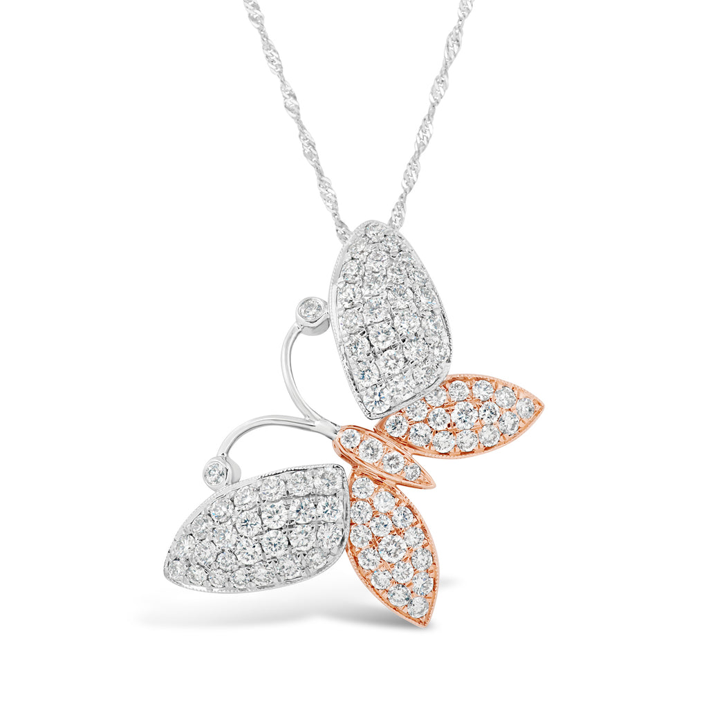 a050e24b8e055 14k Two Tone White Gold and Rose Gold Diamond Butterfly Pendant Necklace