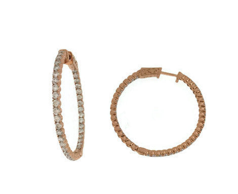 Rose Gold Diamond inside and outside hoops 2.54cts