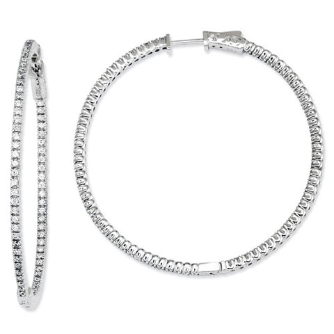 Sterling Silver Large Cubic Zirconia CZ Hoop Earrings