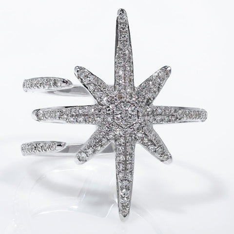 14k Large White Gold Starburst Open Design Diamond Ring