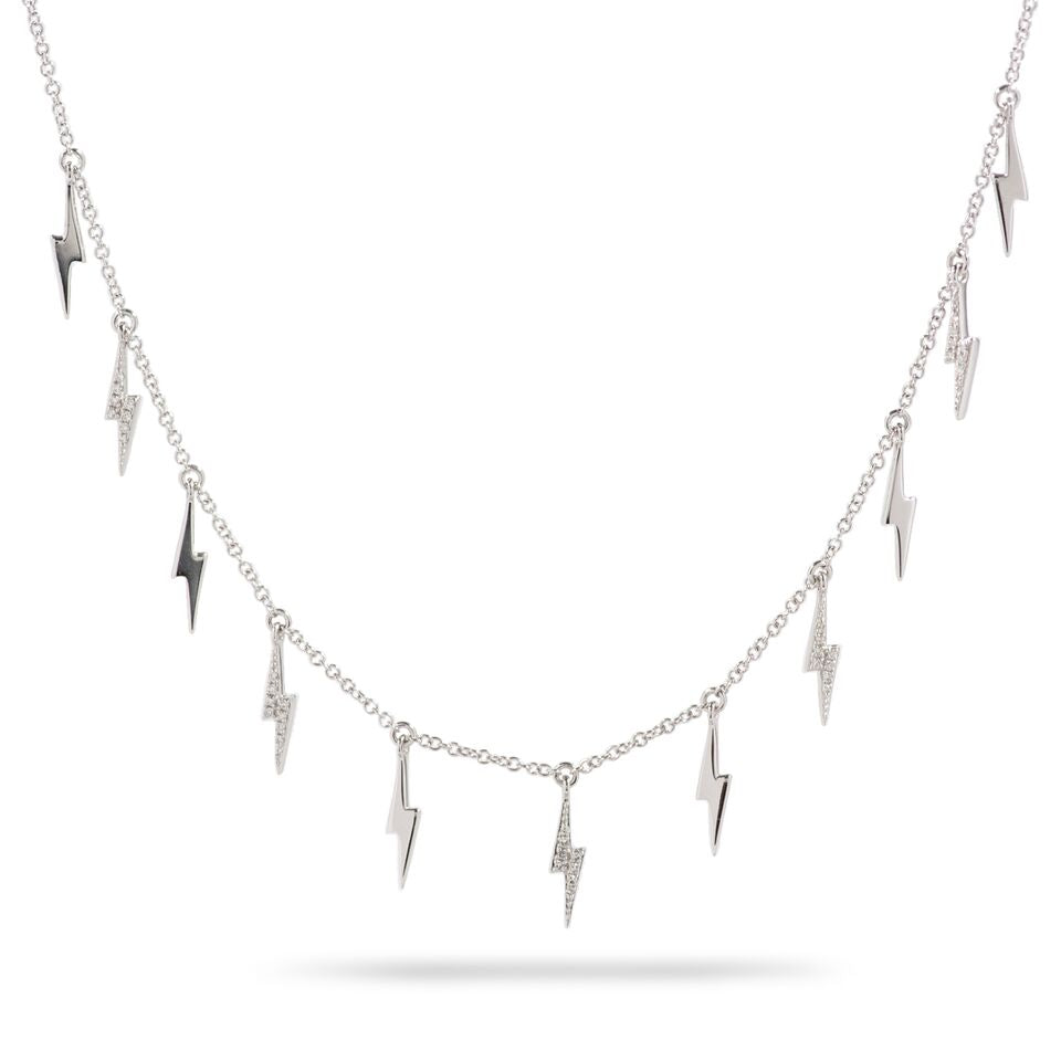 f0ca08156df49 14k White Gold Dangling Diamond Lightning Bolt Necklace