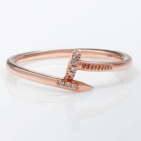 14k Nail head Rose Gold Diamond Ring