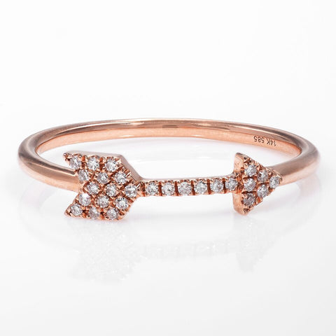 14k Rose Gold Diamond Arrow Ring