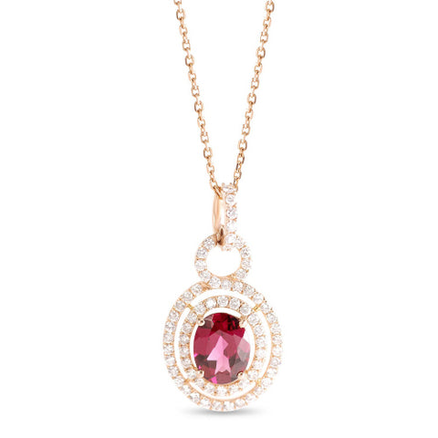 14k Rose Gold Diamond Halo Garnet Pendant Necklace