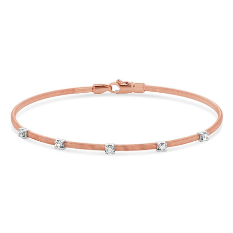 14k Rose Gold Diamond Bangle Bracelet