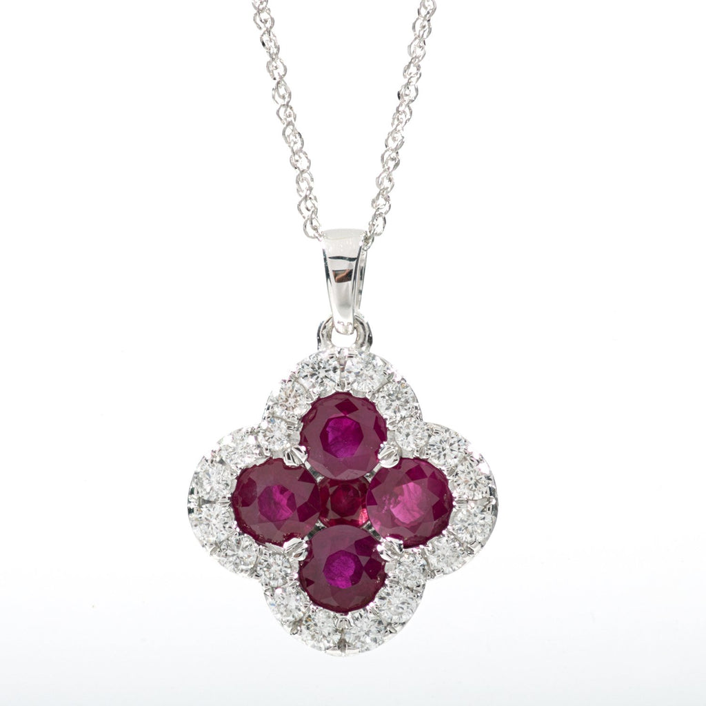 Ruby and diamond white gold clover pendant necklace mb altman jewelry ruby and diamond white gold clover pendant necklace aloadofball Image collections