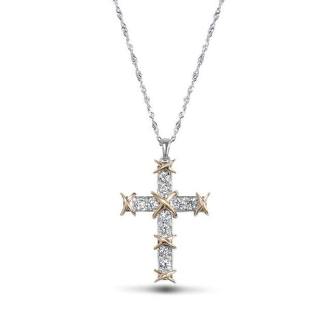 14k Gold Two Tone Diamond Cross Pendant Necklace