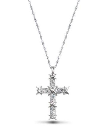 14kt White Gold Diamond Cross Pendant Necklace