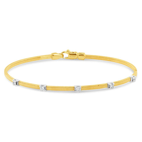 14k Yellow Gold Diamond Bangle Bracelet