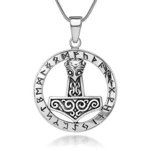 Pendant - Sterling Silver Runic Thor's Hammer Pendant (FREE SHIPPING)