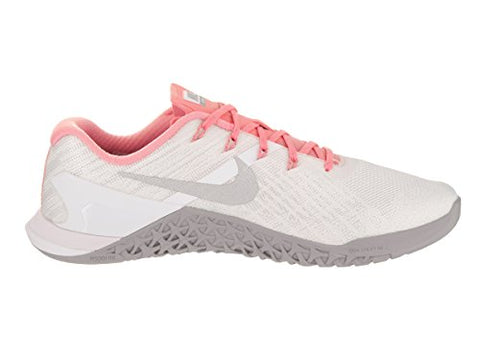 Nike Women's Metcon 3 White/Metallic Silver Training Shoe 7 Women US