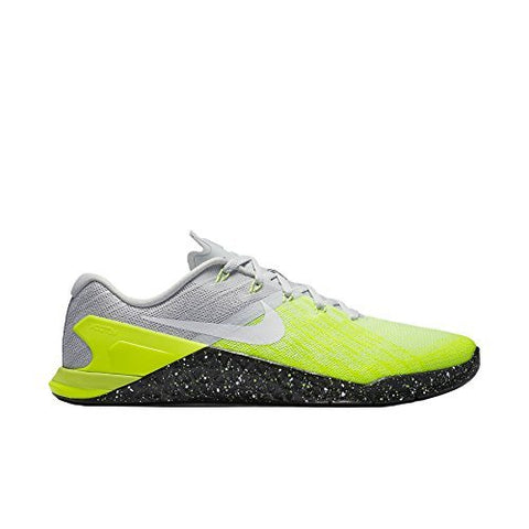 Nike Mens Metcon 3 Training Shoes Track Platinum/Black/Volt Green 852928-006 Size 9