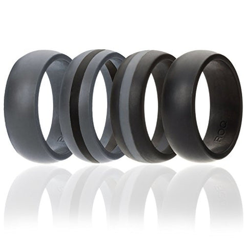 Silicone Wedding Ring For Men By ROQ, 4 Pack Silicone Rubber Band - Black, Black With Thin Grey Stripe, Grey With Black Stripe, Grey, Size 11