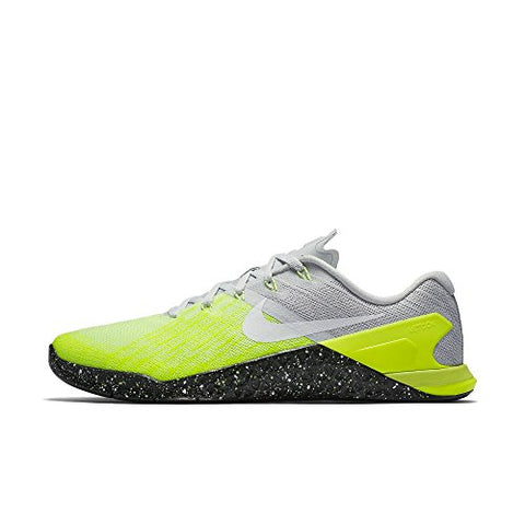 Nike Mens Metcon 3 Training Shoes Track Platinum/Black/Volt Green 852928-006 Size 12