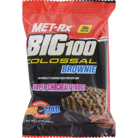Met-Rx Big 100 Colossal Brownie - Super Chocolate Fudge - 3.52 oz - Case of 9
