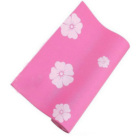 Rubber Yoga Mat Eco Print 6mm (Pink) + Mesh Bag