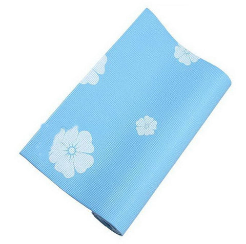 Rubber Yoga Mat Eco Print 6mm (Blue)+ Mesh Bag